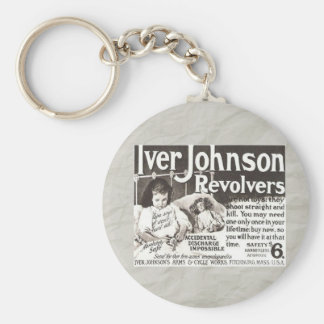 Vintage Revolver Ad - Don t Try This At Home Key Chain
