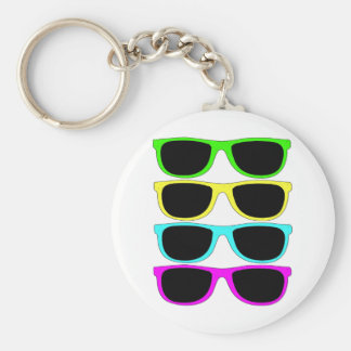 Vintage Rgb Fluo Sunglasses Basic Round Button Key Ring