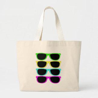 Vintage Rgb Fluo Sunglasses Large Tote Bag