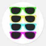 Vintage Rgb Fluo Sunglasses Round Stickers