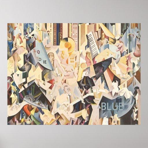 Vintage Rhapsody in Blue Art Deco Jazz Music Poster