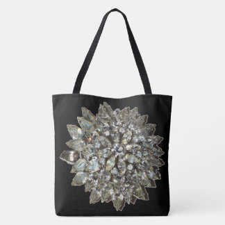 Vintage Rhinestone Diamond Bling Pattern Black Tote Bag