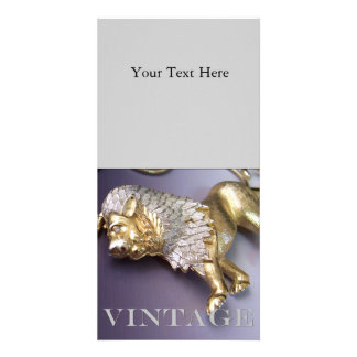 Vintage Rhinestone Lion Photo Cards