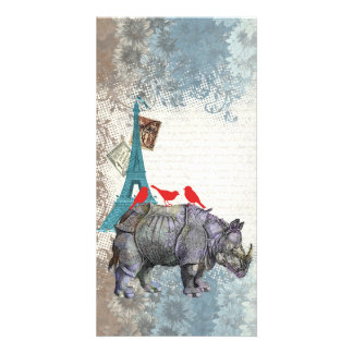 Vintage rhino personalised photo card