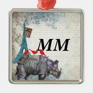 Vintage rhino Silver-Colored square decoration