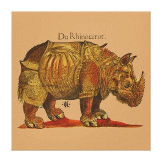 Vintage Rhino Woodcut Print - Durer's Rhinoceros