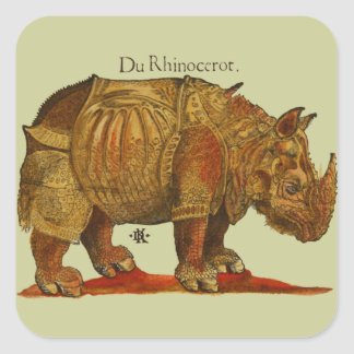Vintage Rhino Woodcut Print - Durer's Rhinoceros Square Sticker