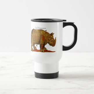 Vintage Rhino Woodcut Print - Durer's Rhinoceros Travel Mug
