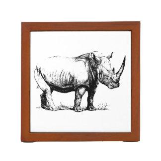 Vintage Rhinoceros Illustration, Animal Desk Organiser