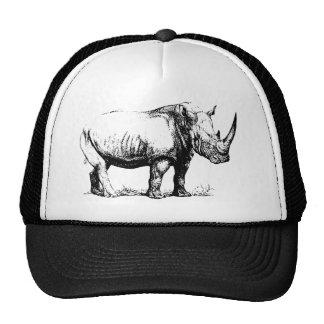 Vintage Rhinoceros Illustration, Animal Mesh Hats