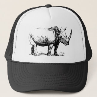 Vintage Rhinoceros Illustration, Animal Trucker Hat