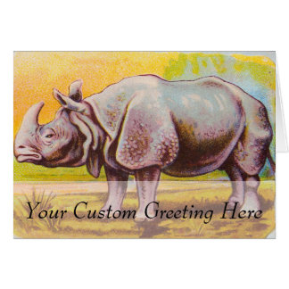 Vintage Rhinoceros Illustration Card