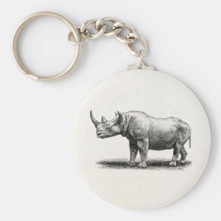 Vintage Rhinoceros Illustration Rhino Rhinos Basic Round Button Key Ring