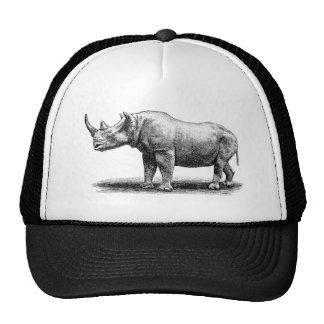 Vintage Rhinoceros Illustration Rhino Rhinos Cap