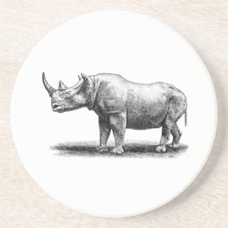 Vintage Rhinoceros Illustration Rhino Rhinos Coaster