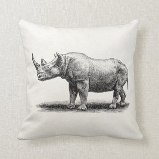Vintage Rhinoceros Illustration Rhino Rhinos Cushion
