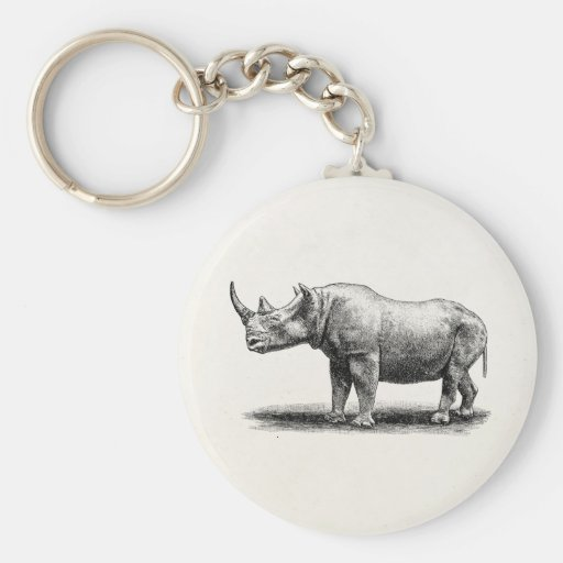 Vintage Rhinoceros Illustration Rhino Rhinos Keychains