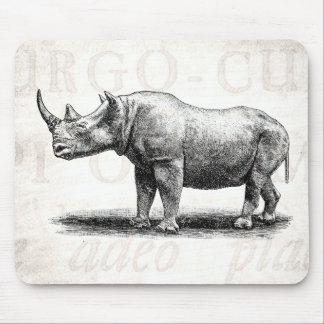 Vintage Rhinoceros Illustration Rhino Rhinos Mouse Mat