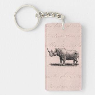 Vintage Rhinoceros Illustration Rhino Rhinos Pink Key Ring