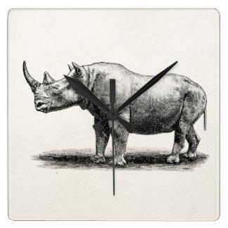 Vintage Rhinoceros Illustration Rhino Rhinos Square Wall Clock