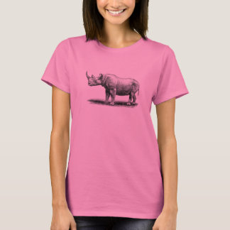 Vintage Rhinoceros Illustration Rhino Rhinos T-Shirt