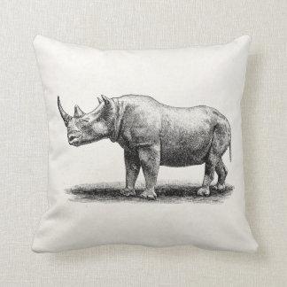 Vintage Rhinoceros Illustration Rhino Rhinos Throw Pillow
