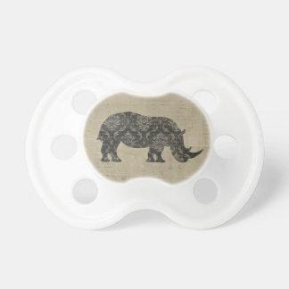 Vintage Rhinoceroses Silhouette  Pacifier