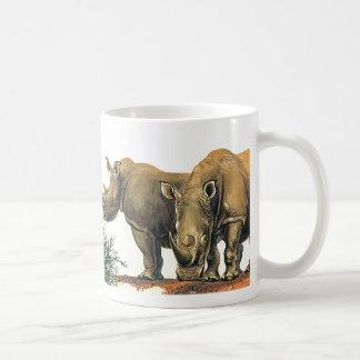 Vintage Rhinos or Rhinoceros, Wild Jungle Animals Basic White Mug