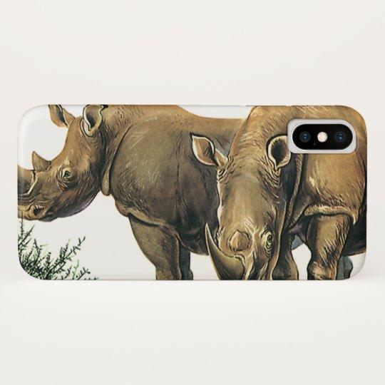 Vintage Rhinos or Rhinoceros, Wild Jungle Animals iPhone X Case
