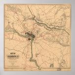 Vintage Richmond VA Rebel Defence Map (1864) Poster