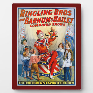 Vintage Ringling Brothers Clown Circus Poster Kids Plaque