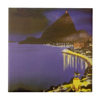 Vintage Rio De Janeiro, Brazil at Night Tile