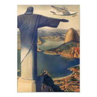 Vintage Rio De Janeiro, Christ the Redeemer Statue 13 Cm X 18 Cm Invitation Card