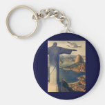 Vintage Rio De Janeiro, Christ the Redeemer Statue Basic Round Button Key Ring