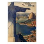 Vintage Rio De Janeiro, Christ the Redeemer Statue Greeting Card