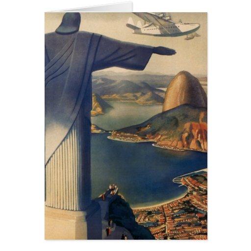 Vintage Rio De Janeiro, Christ the Redeemer Statue Greeting Cards