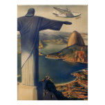 Vintage Rio De Janeiro, Christ the Redeemer Statue Poster