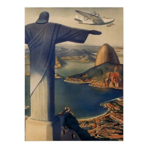 Vintage Rio De Janeiro, Christ the Redeemer Statue Print