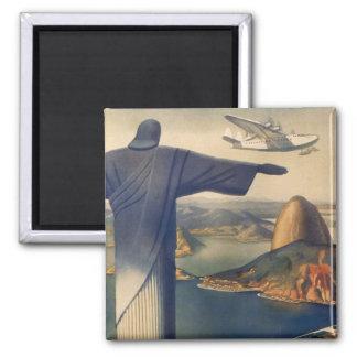 Vintage Rio De Janeiro, Christ the Redeemer Statue Square Magnet