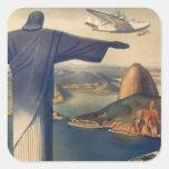Vintage Rio De Janeiro, Christ the Redeemer Statue Square Sticker