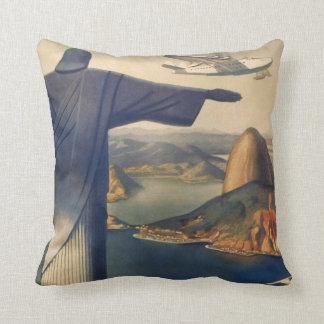 Vintage Rio De Janeiro, Christ the Redeemer Statue Throw Pillow