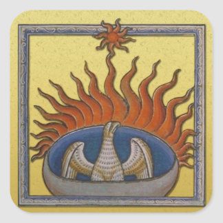 Vintage Rising Phoenix Mythological Firebird Square Sticker