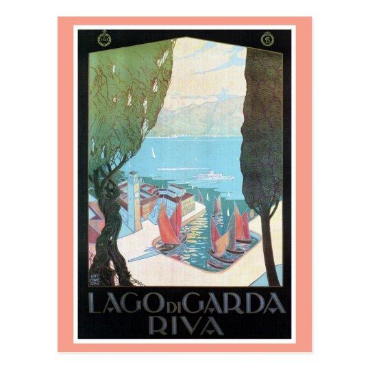 Vintage Riva Lake Garda Italian travel ad Postcard