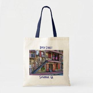 Vintage River Street, Savannah, Georgia Tote Bags