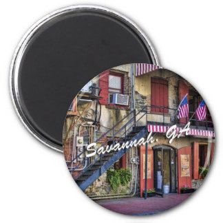 Vintage River Street Savannah Georgia Travel Photo 6 Cm Round Magnet