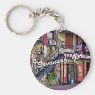 Vintage River Street Savannah Georgia Travel Photo Key Ring