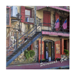 Vintage River Street Savannah Georgia Travel Photo Small Square Tile