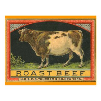 Vintage Roast Beef Advertisement Postcard