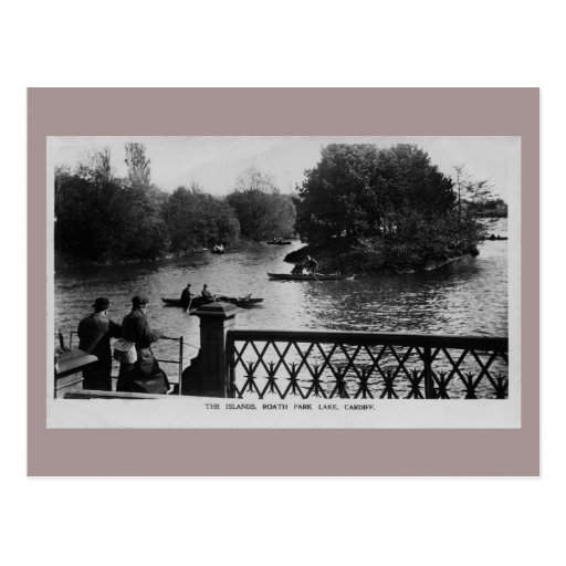 Vintage Roath Park Lake Cardiff Wales photo Post Cards