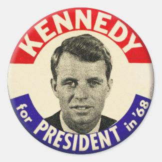 Vintage Robert Kennedy For President Pin 1968 Round Sticker